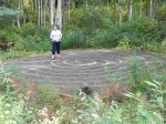 A diminutive labyrinth tucked into the birch forest