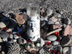 Pilgrims leave artifacts in remembrance of their journey.