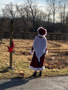 Mrs. Claus takes a pause before walking.